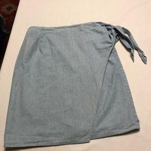 Wrap around blue jean skirt